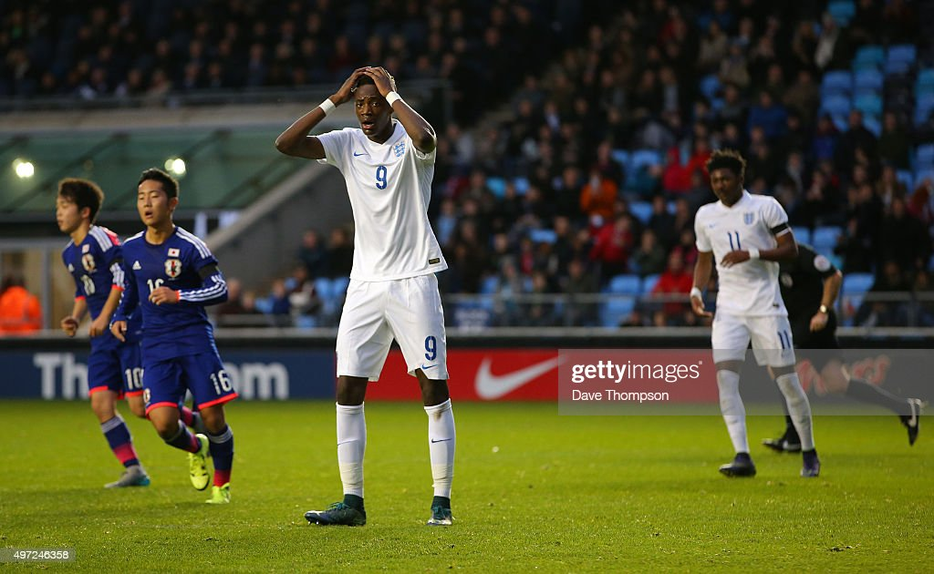 Tammy Abraham of England reacts after missing a penalty during the U19 International friendly match between England and Japan at Manchester City Academy Stadium on November 15, 2015 in Manchester, England.