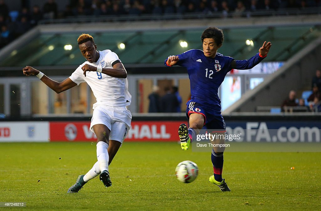 Tammy Abraham of England scores his sides third goal during the U19 International friendly match between England and Japan at Manchester City Academy Stadium on November 15, 2015 in Manchester, England.
