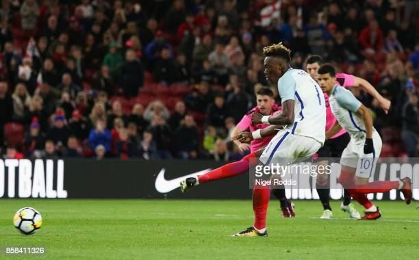 Tammy Abraham of England scores their second goal from a penalty during the UEFA European Under 21 Championship Group 4 Qualifier between England and...