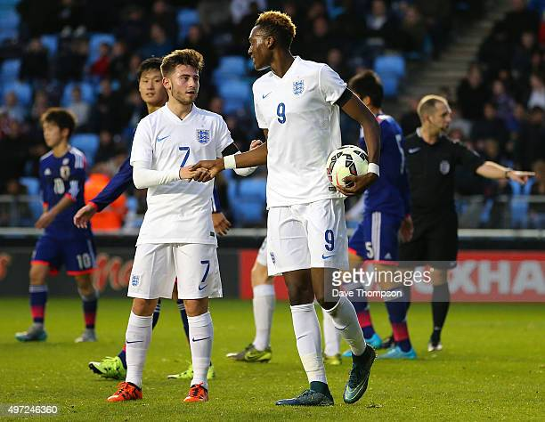 Tammy Abraham of England takes the ball from Patrick Roberts of England before missing a penalty during the U19 International friendly match between...