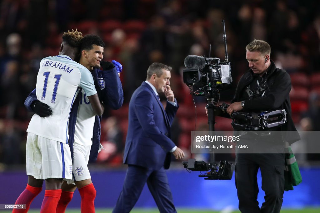 Tammy Abraham of England U21 and Dominic Solanke of England U21 celebrate at full time during the UEFA European Under 21 Championship Qualifiers fixture between England U21 and Scotland U21 at Riverside Stadium on October 6, 2017 in Middlesbrough, England.