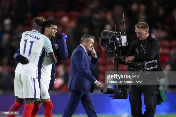 Tammy Abraham of England U21 and Dominic Solanke of England U21 celebrate at full time during the UEFA European Under 21 Championship Qualifiers...