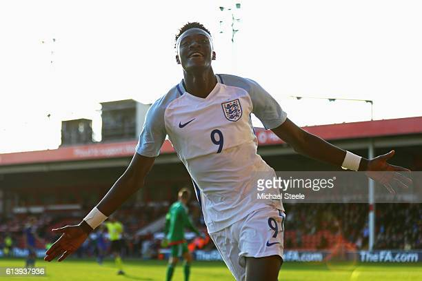 Tammy Abraham of England U21 celebrates as he scores their fifth goal during the UEFA European U21 Championship Group 9 qualifying match between...
