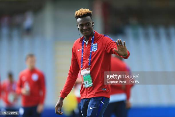 Tammy Abraham of England waves prior to the UEFA European Under21 Championship Group A match between Slovakia and England at Kielce Stadium on June...