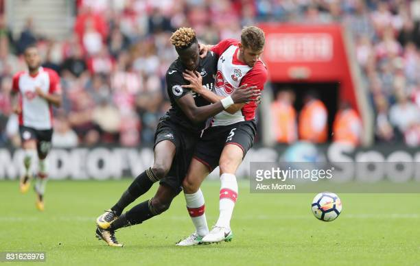 Tammy Abraham of Swansea and Jack Stephens of Southampton during the Premier League match between Southampton and Swansea City at St Mary's Stadium...
