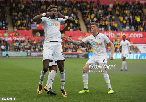 Tammy Abraham of Swansea City celebrates his equaliser with team mate Alfie Mawson during the Premier League match between Swansea City and Watford...