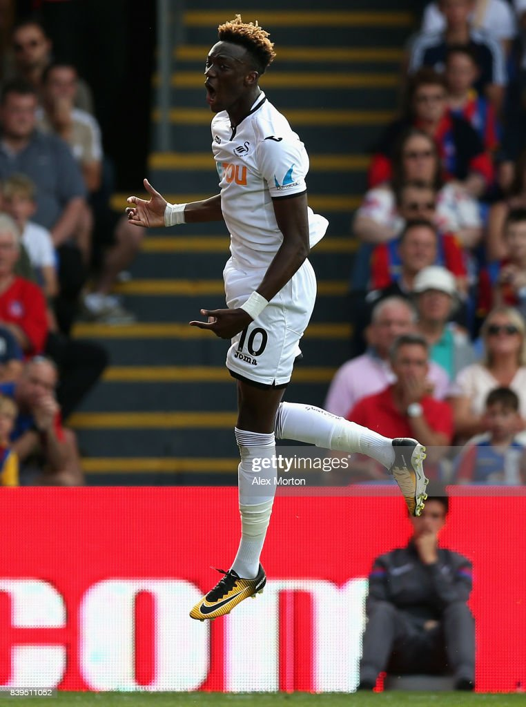 Tammy Abraham of Swansea City celebrates scoring his sides first goal during the Premier League match between Crystal Palace and Swansea City at Selhurst Park on August 26, 2017 in London, England.