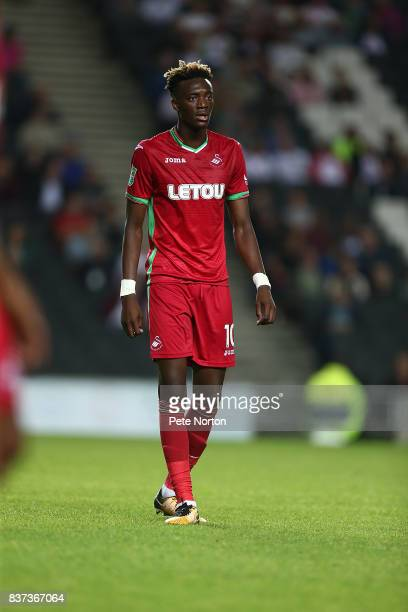 Tammy Abraham of Swansea City in action during the Carabao Cup Second Round match between Milton Keynes Dons and Swansea City at StadiumMK on August...