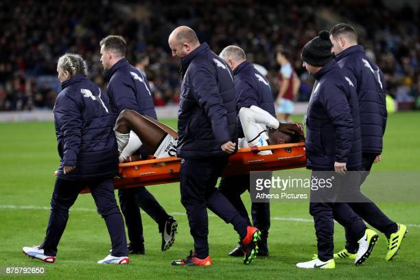 Tammy Abraham of Swansea City leaves the pitch on a stretcher during the Premier League match between Burnley and Swansea City at Turf Moor on...