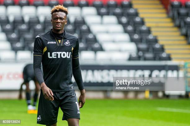 Tammy Abraham of Swansea City looks on during the Swansea City Training SessionThe Liberty Stadium on August 02 2017 in Swansea Wales