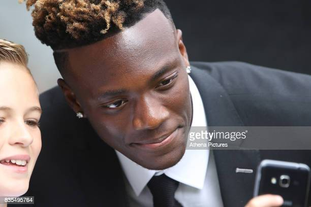 Tammy Abraham of Swansea City prior to kick off of the Premier League match between Swansea City and Manchester United at The Liberty Stadium on...