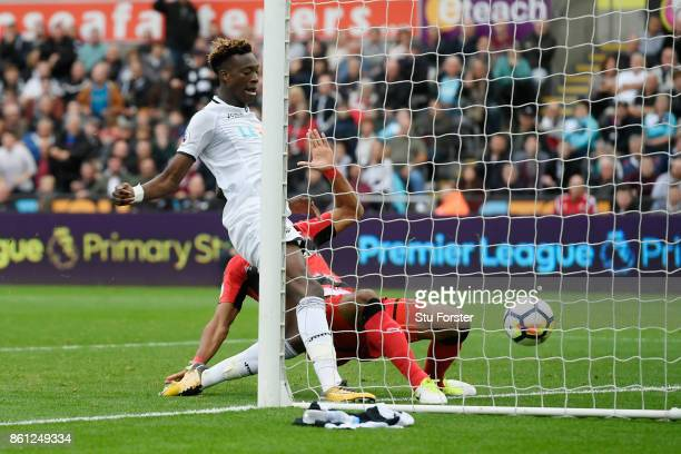 Tammy Abraham of Swansea City scores his sides second goal during the Premier League match between Swansea City and Huddersfield Town at Liberty...
