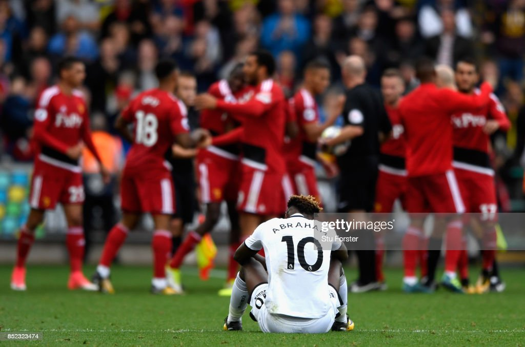 Tammy Abraham of Swansea City shows dejection after his side's 1-2 defeat in the Premier League match between Swansea City and Watford at Liberty Stadium on September 23, 2017 in Swansea, Wales.