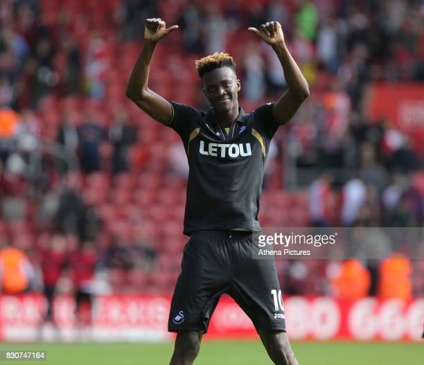 Tammy Abraham of Swansea City thanks away supporters at the end of the game during the Premier League match between Southampton and Swansea City at...