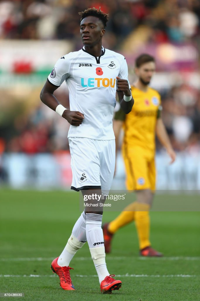 Tammy Abraham of Swansea during the Premier League match between Swansea City and Brighton and Hove Albion at the Liberty Stadium on November 4, 2017 in Swansea, Wales.