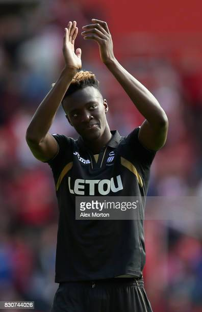 Tammy Abraham of SwanseaCity shows appreciation to the fans after the Premier League match between Southampton and Swansea City at St Mary's Stadium...
