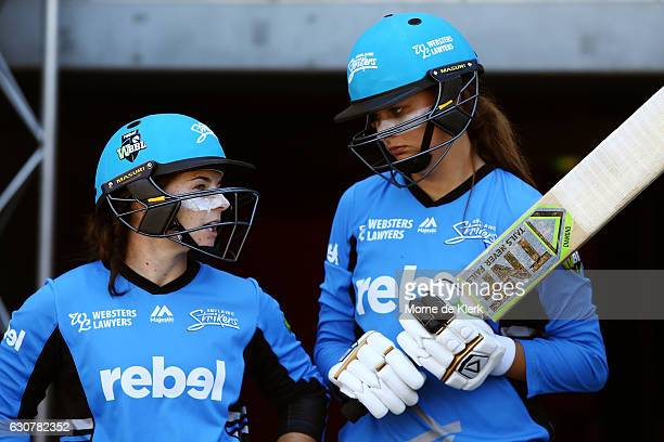 Tammy Beaumont and Alex Price of the Adelaide Strikers prepare to bat during the WBBL match between the Sixers and Strikers on January 2 2017 in...