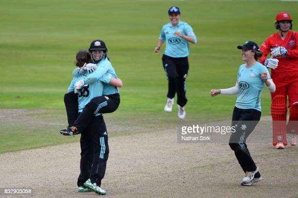 Tammy Beaumont hugs Rene Farrell of Surrey Stars after they win the Kia Super League 2017 match between Lancashire Thunder and Surrey Stars at Old...