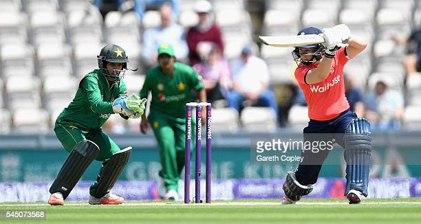 Tammy Beaumont of England bats during the 2nd Natwest International T20 match between England and Pakistan at Ageas Bowl on July 5 2016 in...