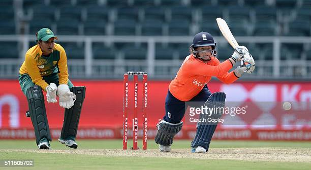 Tammy Beaumont of England bats during the 3rd T20 International match between South Africa and England at Wanderers Stadium on February 21 2016 in...