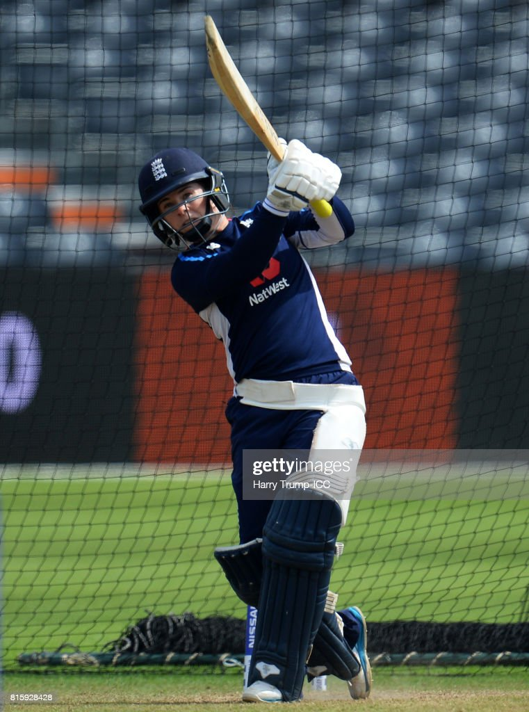 Tammy Beaumont of England bats during the England v South Africa - ICC Women's World Cup: Previews at the Brightside Ground on July 17, 2017 in Bristol, England.