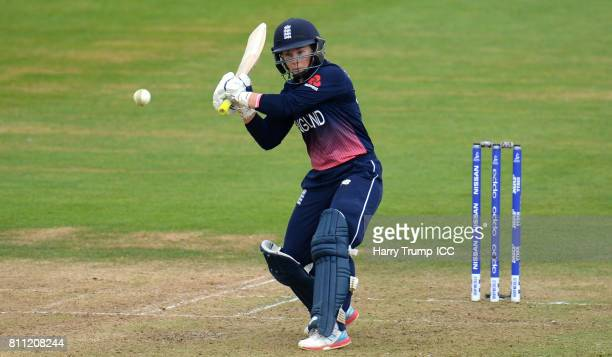 Tammy Beaumont of England bats during the ICC Women's World Cup 2017 match between England and Australia at The Brightside Ground on July 9 2017 in...
