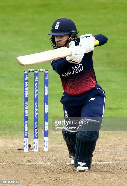 Tammy Beaumont of England bats during the ICC Women's World Cup 2017 match between England and West Indies at The County Ground on July 15 2017 in...