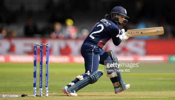 Tammy Beaumont of England bats during the ICC Women's World Cup 2017 Final between England and India at Lord's Cricket Ground on July 23 2017 in...