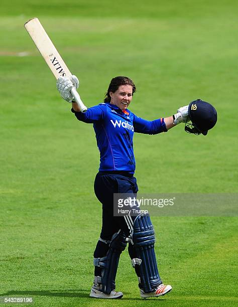 Tammy Beaumont of England celebrates her century during the 3rd Royal Royal London ODI between England Women and Pakistan Women at The Cooper...