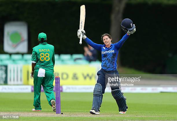 Tammy Beaumont of England celebrates reaching her century during the second Women's Royal London ODI match between England and Pakistan at New Road...