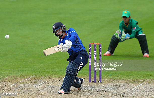 Tammy Beaumont of England hits a boundary during the second Women's Royal London ODI match between England and Pakistan at New Road on June 22 2016...