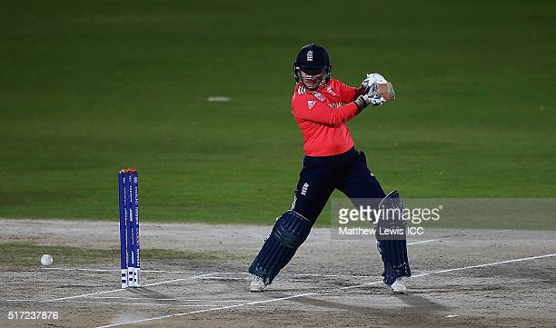 Tammy Beaumont of England hits the ball towards the boundary during the Women's ICC World Twenty20 India 2016 match between England and the West...