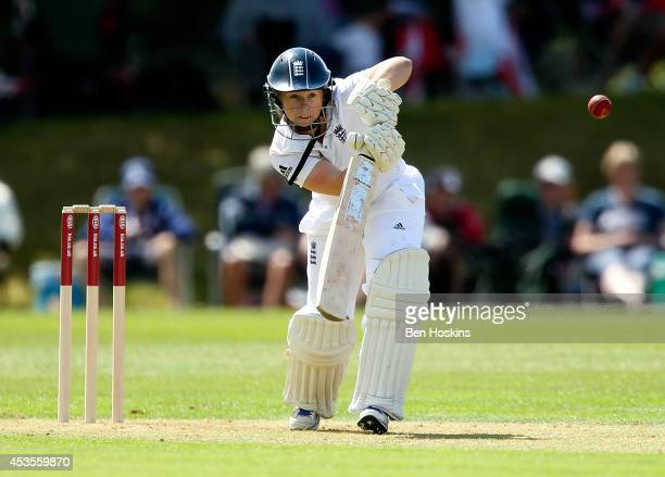 Tammy Beaumont of England in action during day one of Women's test match between England and India at Wormsley Cricket Ground on August 13 2014 in...