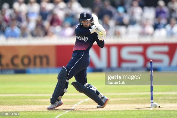 Tammy Beaumont of England plays the pull shot during the ICC Women's World Cup 2017 between England and New Zealand at The 3aaa County Ground on July...