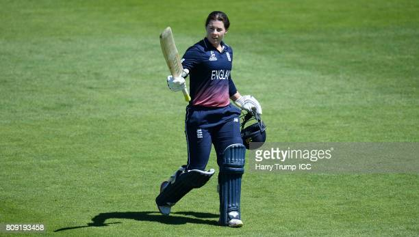Tammy Beaumont of England walks off after being dismissed for 148 during the ICC Women's World Cup 2017 match between England and South Africa at The...