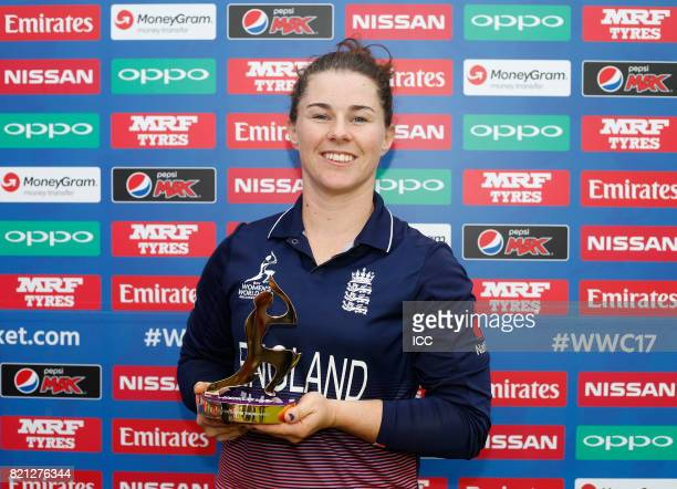 Tammy Beaumont of England with The Player of The Tournament award after The ICC Women's World Cup 2017 Final between England and India at Lord's...