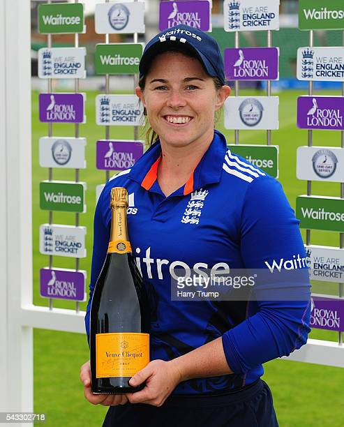 Tammy Beaumont of England Women poses with the Player of the match trophy during the 3rd Royal Royal London ODI between England Women and Pakistan...