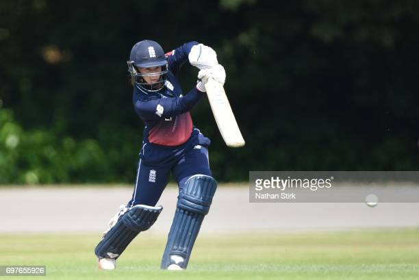 Tammy Beaumont of England Women's drives the ball during the ICC women's world cup warm up match between England Women's and Sri Lanka on June 19...