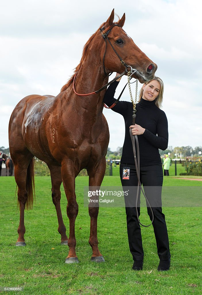 Tammy Blair poses with Spieth after winning Race 4, during Melbourne Racing at Flemington Racecourse on June 25, 2016 in Melbourne, Australia.