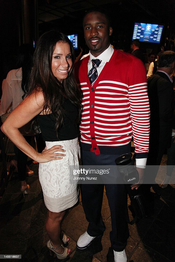 Tammy Brooke and <a gi-track='captionPersonalityLinkClicked' href=/galleries/search?phrase=Wesley+Matthews+-+Basketball+Player&family=editorial&specificpeople=804816 ng-click='$event.stopPropagation()'>Wesley Matthews</a> attend the NY Giants Justin Tuck 4th Annual celebrity billiards tournament at Slate NYC on May 31, 2012 in New York City.