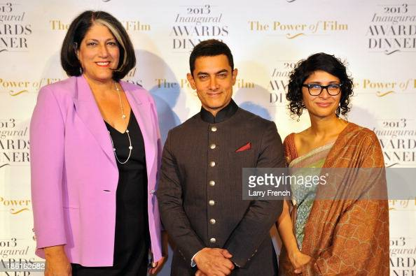Tammy Haddad Aamir Kahn and Kiran Rao attend the 2013 America Abroad Media Awards Dinner at Andrew W Mellon Auditorium on October 28 2013 in...