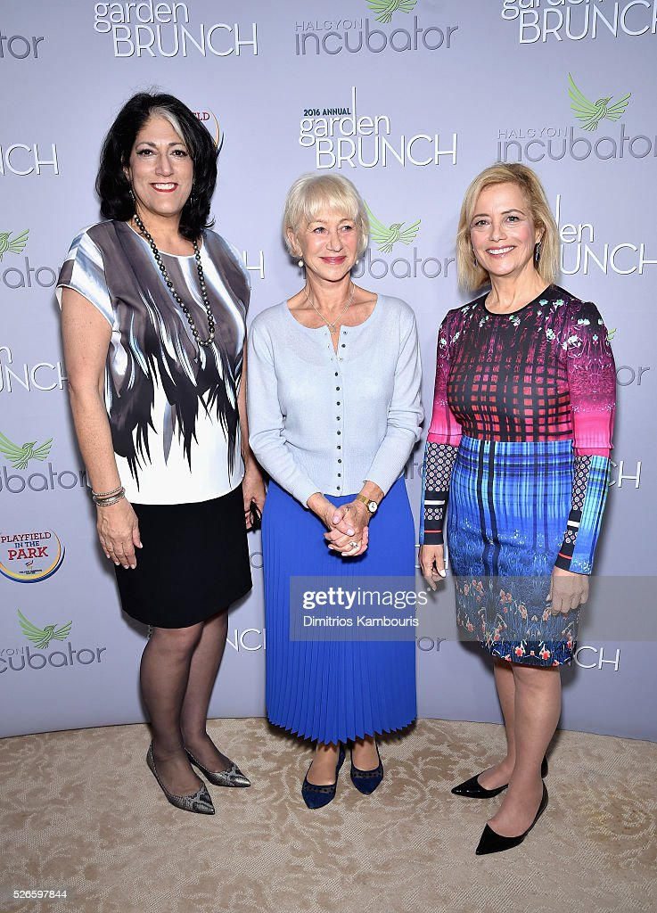 Tammy Haddad, Helen Mirren and Hilary Rosen attend the Garden Brunch prior to the 102nd White House Correspondents' Association Dinner at the Beall-Washington House on April 30, 2016 in Washington, DC.