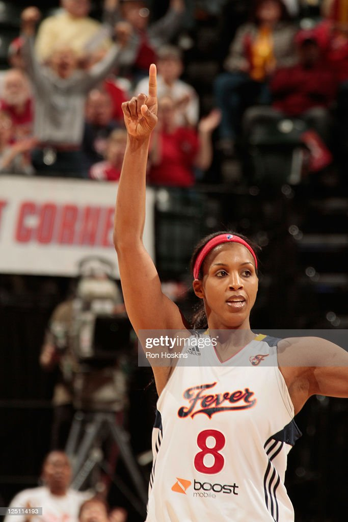 <a gi-track='captionPersonalityLinkClicked' href=/galleries/search?phrase=Tammy+Sutton-Brown&family=editorial&specificpeople=208212 ng-click='$event.stopPropagation()'>Tammy Sutton-Brown</a> #8 of the Indiana Fever reacts as the Fever went on to defeat the New York Liberty in Game One of the Eastern Conference Semifinals during the 2011 WNBA Playoffs at Conseco Fieldhouse on September 15, 2011 in Indianapolis, Indiana.
