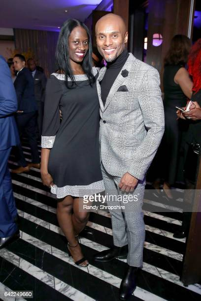 Tammy Warren and singer Kenny Lattimore attend Pre ABFF Honors Cocktail Party hosted by Debra L Lee Jeff Friday at Cecconi's on February 16 2017 in...