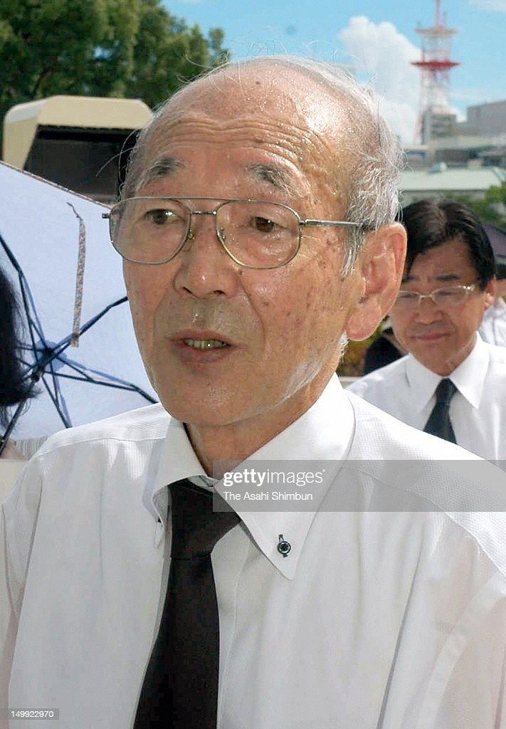 Tamotsu Baba, city mayor of Namie town, that suffers from the radiation by the Fukushima Daiichi Nuclear Power Plant disaster, attends the Hiroshima Peace Memorial at Hiroshima Peace Memorial Park on August 6, 2012 in Hiroshima, Japan. Hiroshima marks the 67th anniversary of its atomic bombing under the shadow of the Fukushima nuclear disaster and by issuing a plea for complete nuclear disarmament.
