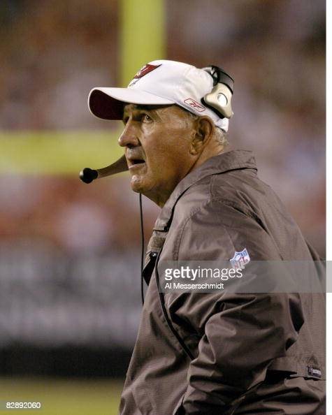 Tampa Bay Buccaneers defensive coordinator Monte Kiffin a candidate for the University of Nebraska head coaching job watches play November 24 2003...