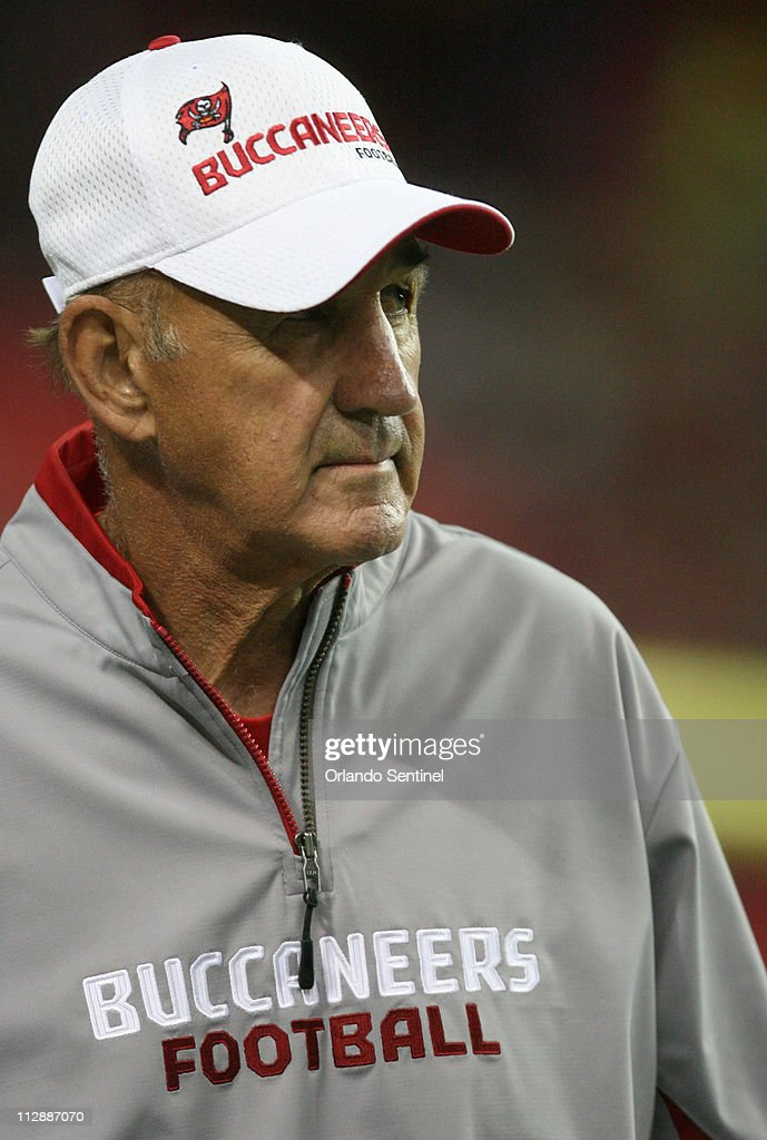 Tampa Bay Buccaneers defensive coordinator Monte Kiffin takes the field for their game against the Atlanta Falcons at the Georgia Dome in Atlanta...