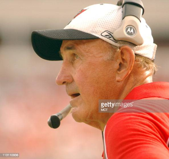 Tampa Bay Buccaneers Defensive Coordinator Monte Kiffin watches game action against the New Orleans Saints The Buccaneers defeated the Saints 2713 at...