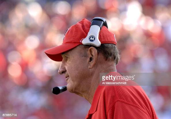 Tampa Bay Buccaneers defensive coordinator Monte Kiffin watches play against the Washington Redskins Nov 19 2006 in Tampa The Bucs won 20 17