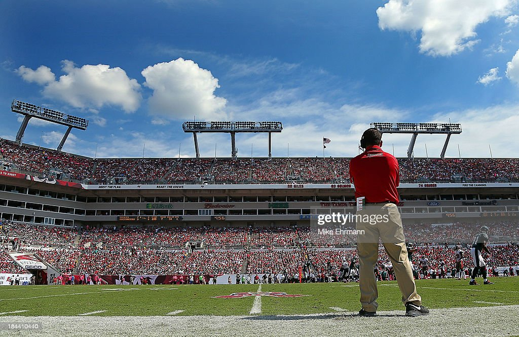 Tampa Bay Buccaneers head coach <a gi-track='captionPersonalityLinkClicked' href=/galleries/search?phrase=Greg+Schiano&family=editorial&specificpeople=2365166 ng-click='$event.stopPropagation()'>Greg Schiano</a> looks on during a game against the Philadelphia Eagles at Raymond James Stadium on October 13, 2013 in Tampa, Florida.